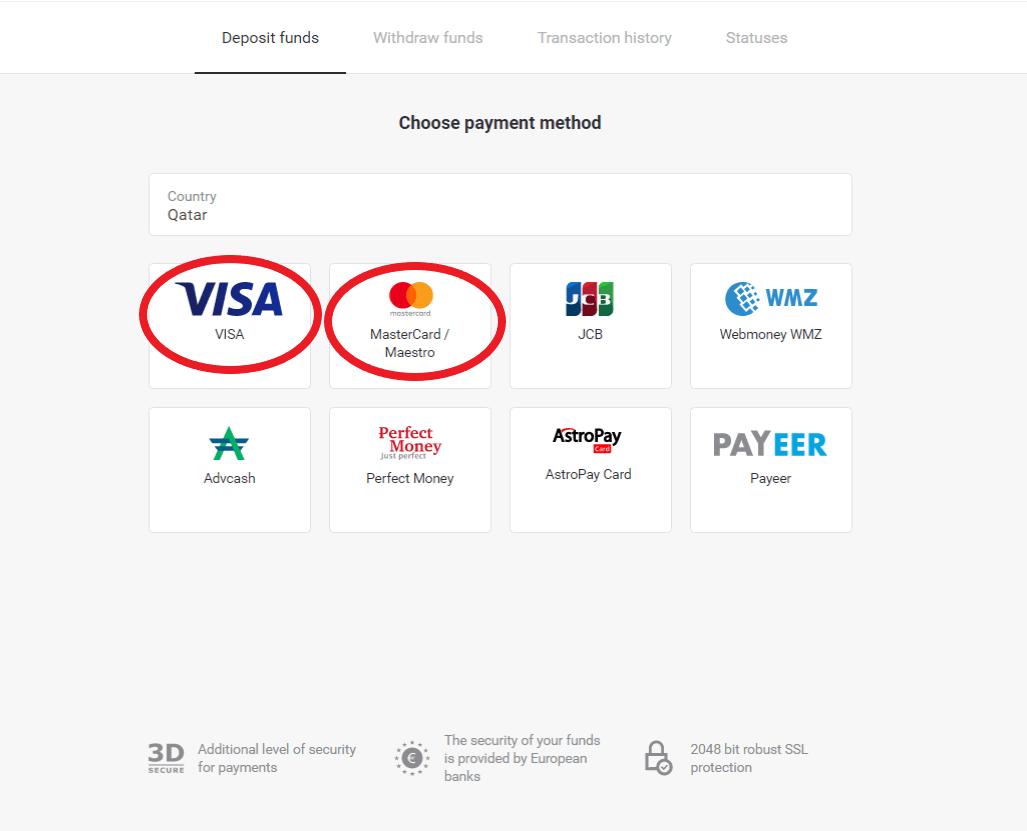 通过银行卡将资金存入 Binomo