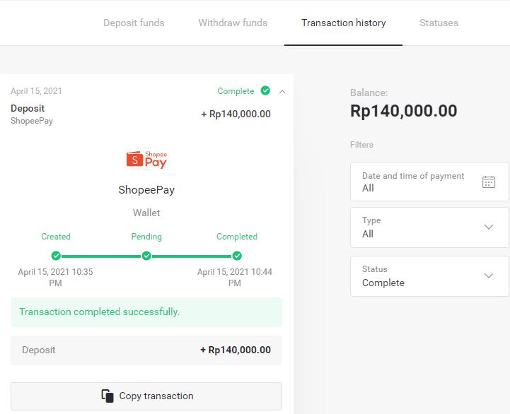 通过印度尼西亚电子钱包(Mandiri、QRIS、OVO、ShopeePay、Doku)在 Binomo 中存入资金