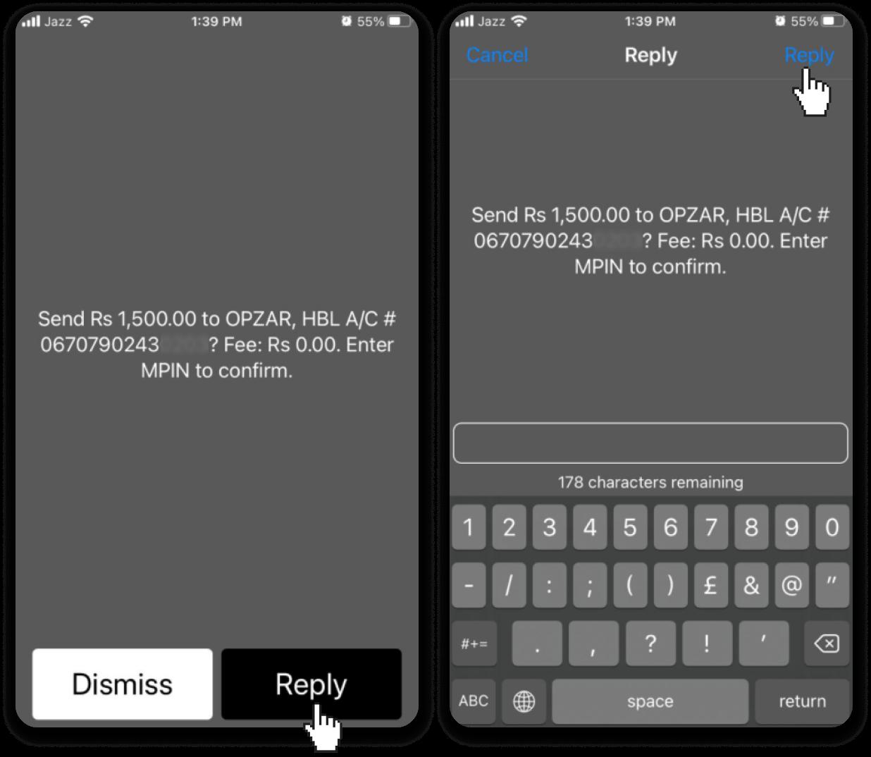 通过巴基斯坦银行转账(Easypaisa SMS、Jazz Cash SMS)在 Binomo 中存入资金